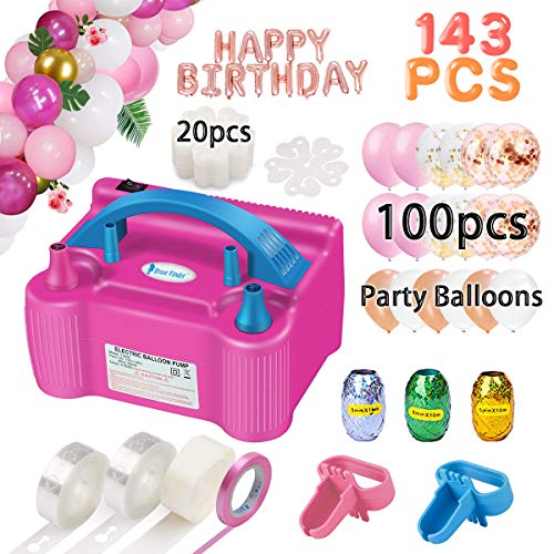 Giant Party Balloons (Balloon Pump, Party Balloons 12 Inches Kit (100 Pack), Portable Dual Nozzle 110V 600W with Tying Tools, Colored Ribbon for Party Birthday Wedding Festival Balloon Arch Supplies, Decoration)