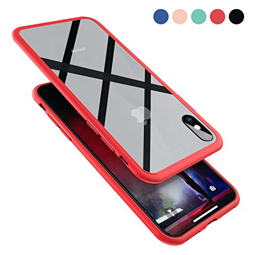 Clear Hybrid iPhone X Case by Ztotop, Thin Tempered Glass Back Cover and Soft Silicone Rubber Bumper Frame Support Wireless Charging for Apple iPhone X/iPhone 10 (2017) - Red Frame Silicon Bumper Frame