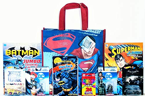 Justice League Activity Gift Set with Reusable Tote Bag, Hot Wheels, Figurines, Coloring & Activity Book & More