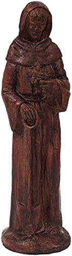 Solid Rock Stoneworks St Francis Stone Statue 15in Tall Walnut Color