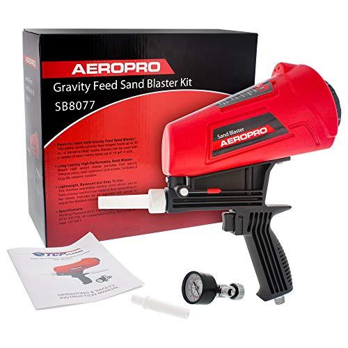 Cheap TCP Global Gravity Feed Sand Blaster Gun Kit - Hand Held Sand Blasting Spray Gun with 2 Cerami...