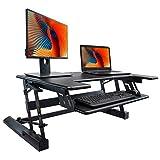 FEZIBO Standing Desk Converter, Height Adjustable Sit Stand Desk Riser, 36' Computer Workstation
