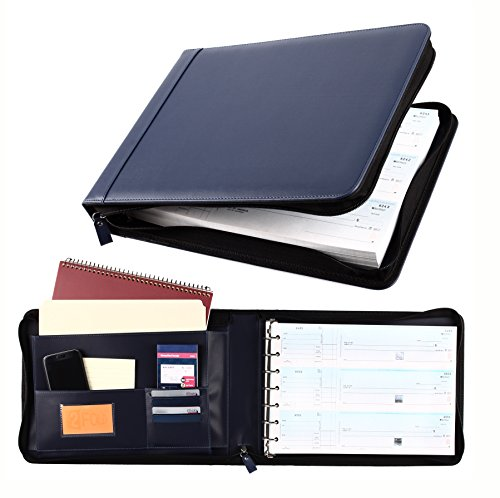 Business Check 7 Ring Binder for 3-Up Checks PU Leather Portfolio Checkbook Cover with Zipper - Checkbook Executive Cover Leather