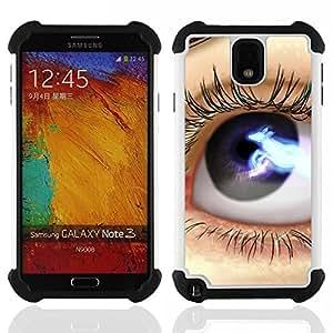 """Pulsar ( Ojos: Azul Negro Lashes Espacio Close Up"""" ) Samsung Galaxy Note 3 III N9000 N9002 N9005 híbrida Heavy Duty Impact pesado deber de protección a los choques caso Carcasa de parachoques"""