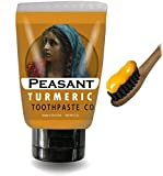 Peasant All Natural Turmeric Toothpaste with Peppermint Essential Oil for Teeth Whitening