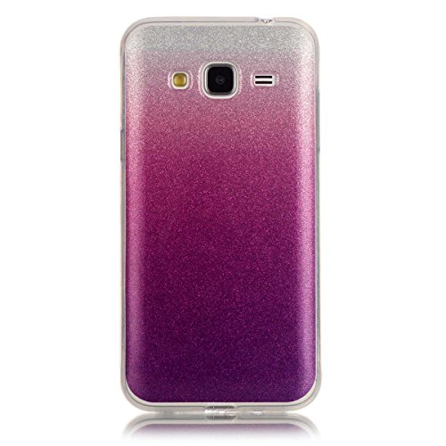 Price comparison product image Moonmini Gradient Color Sparkling Glitter Ultra Slim Fit Soft TPU Phone Back Case Cover for Samsung Galaxy J3 (2015) - Violet