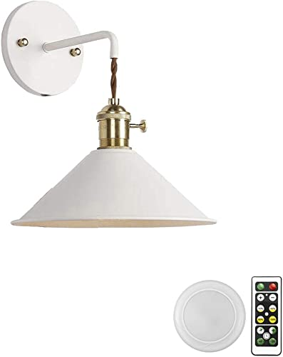 ANYE 1-Light 55 Lumens Led Remote Control Battery Operated Indoor Wireless White Wall Sconce Light Fixture