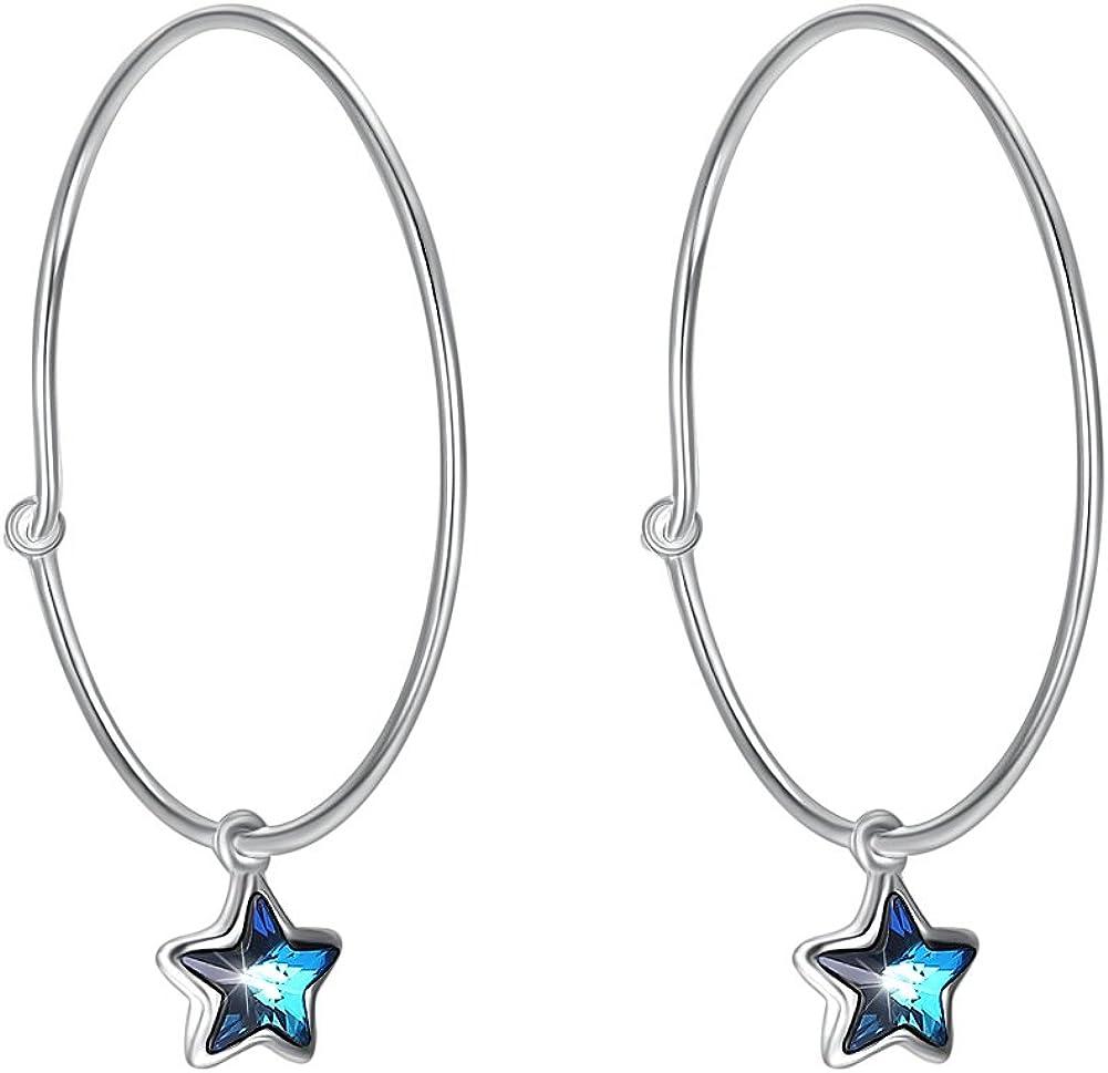 Pendientes de aro de plata de ley 925 con estrella de cristal azul, cristales de Swarovski, tamaño 30 mm, joyería de piedras preciosas, regalo de cumpleaños para mujeres y niñas