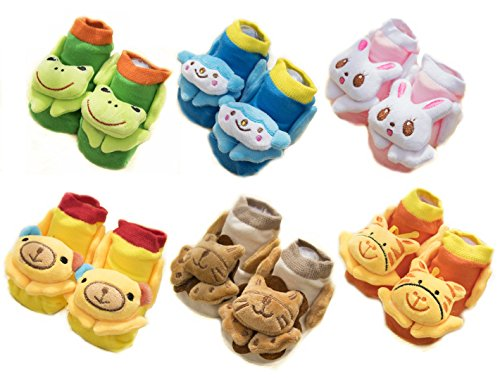 MeGaLuv Cotton Cute 3D Cartoon Anti-Skid Baby Booties Socks Slipper Shoes for Toddlers (Set of 6)
