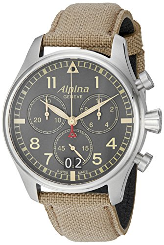 Alpina-Mens-AL-372BGR4S6-Startimer-Pilot-Chronograph-Big-Date-Analog-Display-Swiss-Quartz-Beige-Watch