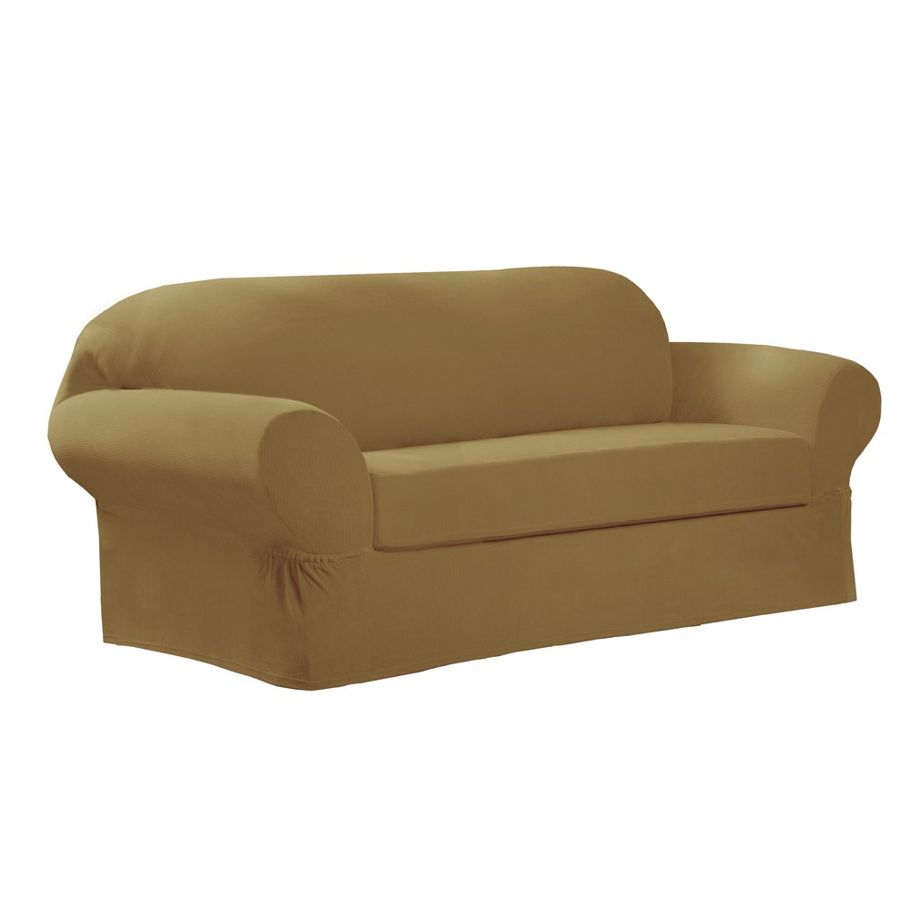 Amazon: Maytex Collin Stretch 2-Piece Slipcover Sofa, Gold: Home &  Kitchen