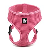 Pettom Soft Mesh Dog Harness No Pull Comfort Padded Vest for Small Pet Cat and Puppy (XS(Chest Size:11-13in), Pink)