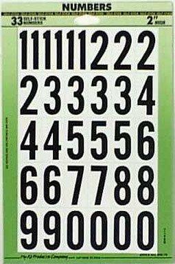 "Hy-Ko MM-7N 2"" Black & White Vinyl Self-Stick Numbers from HY-KO PROD CO"