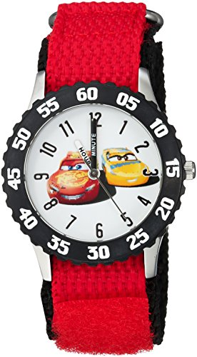 Disney Boy's 'Cars 3' Quartz Stainless Steel and Nylon Casual Watch, Color:Red (Model: WDS000298)
