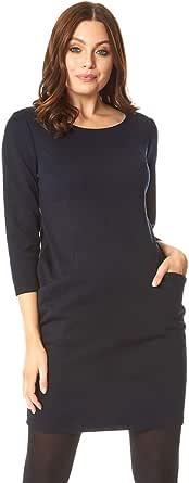 Roman Originals - Vestido para mujer, manga 3/4, para trabajo, oficina, trabajo, noche, otoño, invierno, de punto, cálida, gruesa