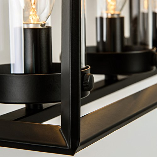 JinYuZe Contemporary Black Metal Frame 5-Light Kitchen Island Linear Pendant Light with Clear Glass Shade