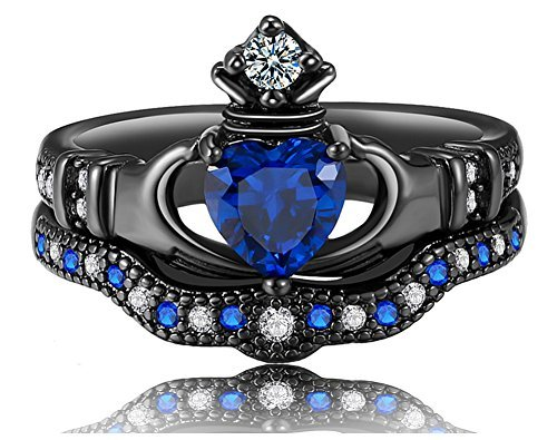 UOKOHO 2PCS one set Black Gold Plated White Zirconia Created Blue Sapphire Heart Cut Bridal Crown Irish Claddagh Ring (5) (Crown Claddagh Ring)