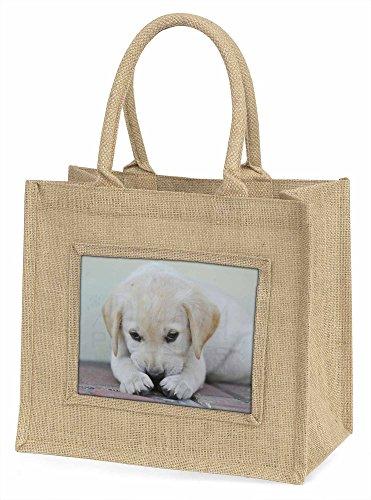 Advanta creme Labrador Puppy große Einkaufstasche/Weihnachten Geschenk, Jute, beige/natur, 42x 34,5x 2cm