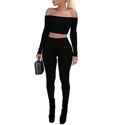 8cbae884605e9 Dreamyth-Winter Women Fashion Split 2 Piece Set Casual Bodycon Casual  Outfit Sportswear (Black
