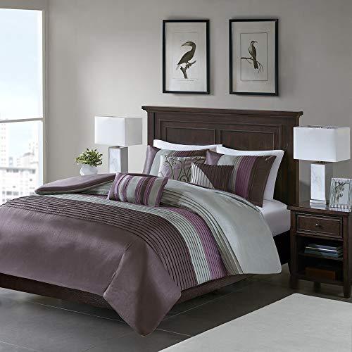 Madison Park Amherst Cal King Size-Purple, Grey, Stripes Duvet Set - 6 Piece - Ultra Soft Microfiber Light Weight Bed Comforter Covers, King - Cover 6 Duvet Piece Comforter