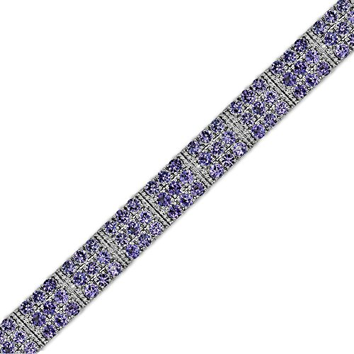 Tanzanite and Diamond Tennis Bracelet in Sterling Silver