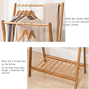 Asunflower Bamboo Garment Laundry Rack with 2 Cloth Storage Bins, Heavy Duty Clothes Drying Rack
