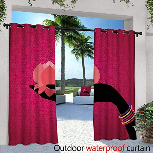 Lotus Outdoor- Free Standing Outdoor Privacy Curtain W84