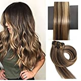 TheFashionWay 21 Colors 70 Grams - 15 18 20 22 Inch 7pieces Real Human Hair Extensions Clip in Silky Straight Weft Remy Hair (22 inches, #4-27)