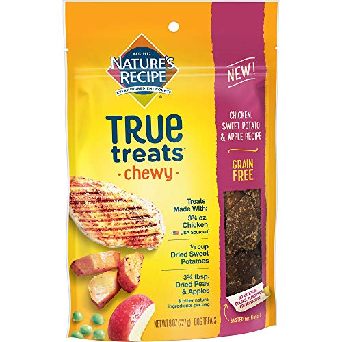 Nature's Recipe True Treats with Chicken, Sweet Potato, Apple, Grain-Free, Natural, Chewy Dog Treats, 8 oz Pouch