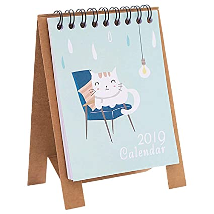Mini 2018-2019 Calendario de escritorio con diseño de animales, con tapa de papel
