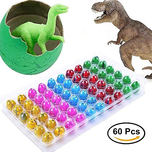 Blu7ive Hatch and Grow Easter Dinosaur Eggs Novelty Hatching Dinosaur Toys Dinosaur Party Supplies for Kids (60 Pack) -