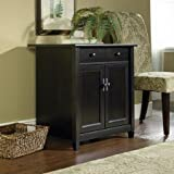 Laminated Finish, Hidden Storage Behind the Doors, Wooden Printer and Utility Stand, Estate Black