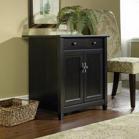 Laminated Finish, Hidden Storage Behind the Doors, Wooden Printer and Utility Stand, Estate Black by Sauder