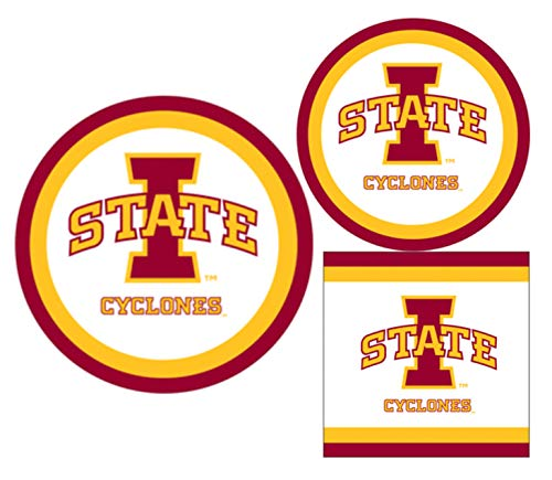 University Of Iowa Party (Iowa State Cyclones Party Supplies - Bundle Includes Paper Plates and Napkins for 10)