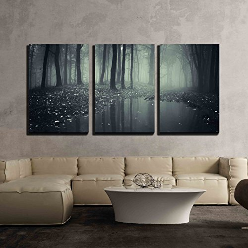 wall26 - 3 Piece Canvas Wall Art - Pond in a Forest with Fog and Fallen Leafs - Modern Home Decor Stretched and Framed Ready to Hang - 24