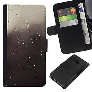 Protector de cuero de la PU de la cubierta del estilo de la carpeta del tirón BY RAYDREAMMM - HTC One M9 - Gotas grises