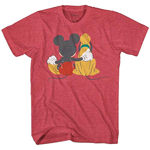 Disney Mickey Mouse & Pluto Back Disneyland World Tee Funny Humor Adult Mens Graphic T-Shirt Apparel (Red Heather, Medium)