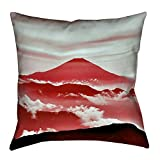 ArtVerse Katelyn Smith Mt. Fuji in Red Floor Pillows Double Sided Print with Concealed Zipper & Insert, 28'' x 28''
