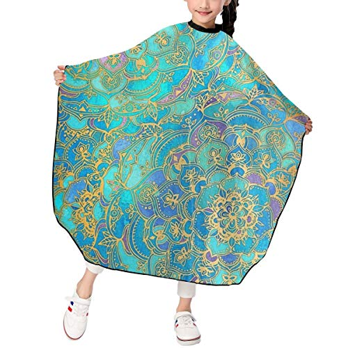 - JinSPef Sapphire & Jade Stained Glass Mandalas Haircut Apron Skin Friendly Hair Salon Cutting Barber Professional Hairdressing Apron for Children 39 X 47 in