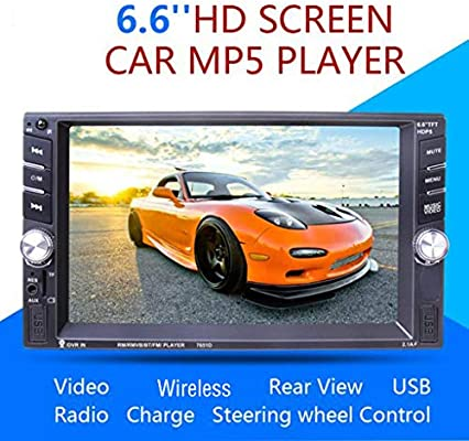 2DIN HD 6.6/'/' Táctil Bluetooth Coche Radio Estéreo MP5 Player AUX//GPS//USB//Remoto