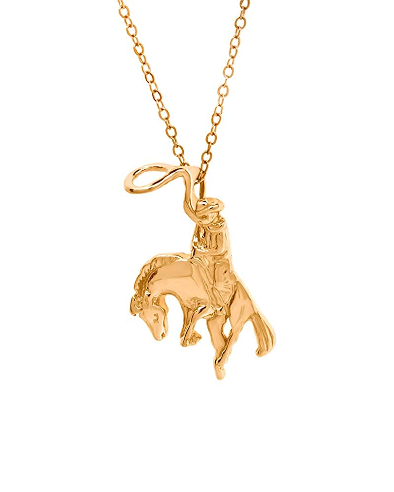 Moores Jewelers 14k Yellow Gold Plated Rodeo Cowboy Necklace w// 18 Cable Chain