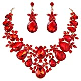 BriLove Women's Bohemian Boho Crystal Flower Leaf Vine Teardrop Statement Necklace Dangle Earrings Set Ruby Color Gold-Toned