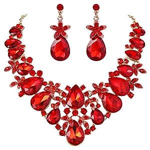 BriLove Women's Costume Fashion Crystal Flower Leaf Vine Teardrop Statement Necklace Dangle Earrings Set