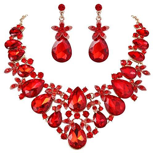 (BriLove Women's Bohemian Boho Crystal Flower Leaf Vine Teardrop Statement Necklace Dangle Earrings Set Ruby Color Gold-Toned)