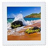 3dRose Danita Delimont - Beaches - Surf crashing on rocks at Secret Beach, Kauapea Beach, Kauai, Hawaii - 18x18 inch quilt square (qs_259229_7)