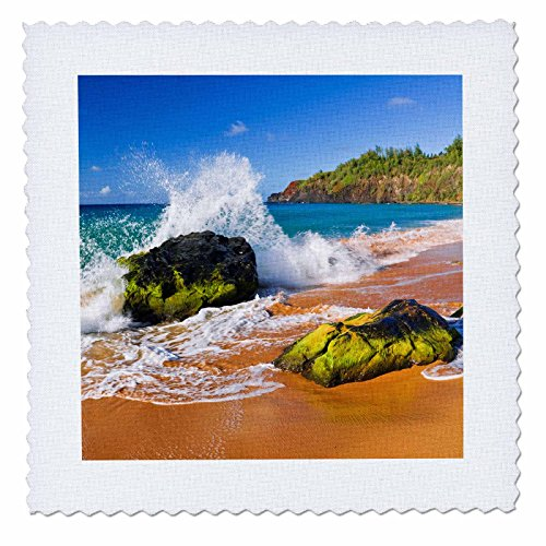 3dRose Danita Delimont - Beaches - Surf crashing on rocks at Secret Beach, Kauapea Beach, Kauai, Hawaii - 18x18 inch quilt square (qs_259229_7) by 3dRose