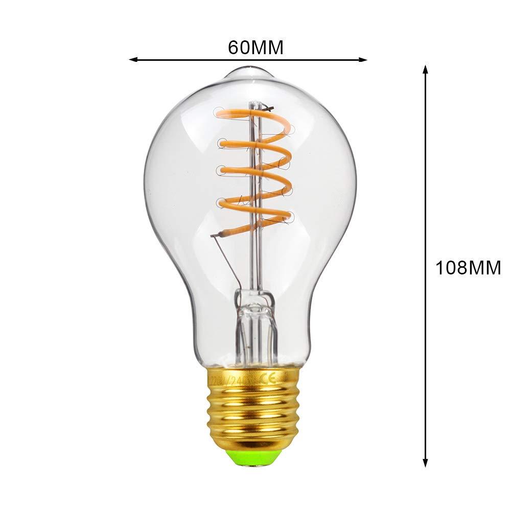 LigthingDesigner Edison Bombilla LED E27 4.00W 240.00V Amber A60, 4 W, 220 y 240 V, E27, forma de espiral, filamento
