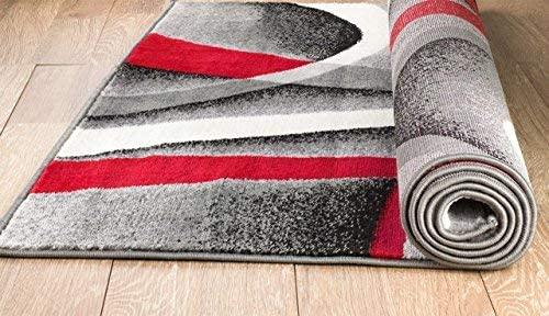 Summit ST34 Area Rug Black Red Gray Modern Abstract Many Sizes Available 7'.4'' X 6''