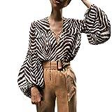 DRAGONHOO 2020 Shirt Lantern Sleeve Deep V-Neck Print Ribbons Long Sleeve Blouse Coat Pullover Sweater
