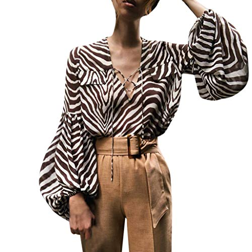 Hstore Zebra Stripes Blouse Fashion Women Shirt Lantern Sleeve Deep V-Neck Print Ribbons Long Sleeve Tops Brown